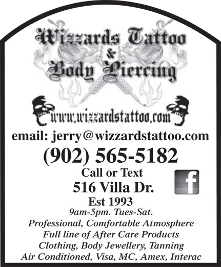 Wizzards Tattoo & Body Piercing (902-565-5182) - Display Ad -. Enlarge